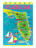 Stuart  Florida  Map with Attractions