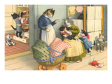 Cats in Domestic Porch Scene