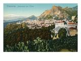 Mt Etna from Taormina  Sicily  Italy