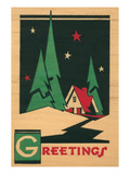 Christmas Greetings  Cabin  Pines  Stars