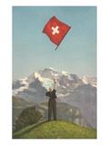 Swiss Flag Above Alps