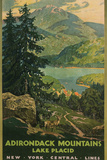 Adirondack Mountains  Lake Placid  Railroad Poster