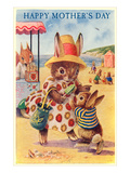 Happy Mother&#39;s Day  Mama Rabbit at Beach