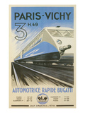 Paris to Vichy Train Poster