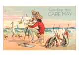 Greetings from Cape May  New Jersey  Artist on Beach