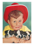 Little Boy with Three Puppies