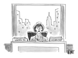 An executive sits before a 'Lean In' and 'Lean Out' box - Cartoon