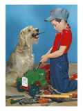 Boy  Dog  and Tools