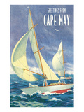 Greetings from Cape May  New Jersey  Sailboats