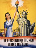 The Girls Behind the Men Behind the Guns…  WWII Poster