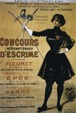 Concours Internationaux d'Escrime  1900 Summer Olympics  Poster