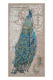 Peacock on Linen 1
