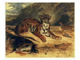 """Deux Tigres Dans Leur Antre Près d'un Cheval Mort"""" (Two Tigers and a Dead Horse Before a Cave)"""