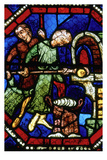 Baker loading an oven  Stained Glass  Bourges Cathedral  Boruges  France