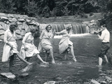 Four Models Kicking Water  1958
