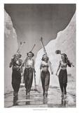 Des jeunes femmes vont au ski Reproduction d'art