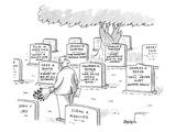 Man in graveyard looks at tombstones - New Yorker Cartoon