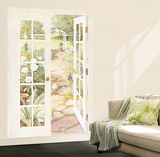 French Doors Into Garden Huge Mural Art Print Poster