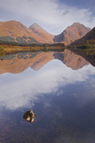 Mountains Reflected in Lochan Urr in Glen Etive  Highlands  Scotland  United Kingdom  Europe