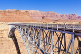 Lone Tourist on Old Navajo Bridge over Marble Canyon and Colorado River  Lees Ferry  Arizona  USA