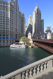 Chicago River and Dusable Bridge with Wrigley Building and Tribune Tower  Chicago  Illinois  USA