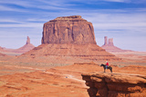 Lone Horse Rider at John Fords Point  Merrick Butte  Monument Valley Navajo Tribal Pk  Arizona  USA