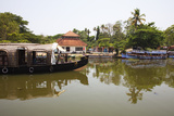 Traditional Kettuvallom (Private Houseboat) Travelling Along the Kerala Backwaters  Kerala  India