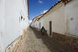 Woman Walking Along Alleyway  Sucre  UNESCO World Heritage Site  Bolivia  South America
