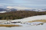 Curling on Frozen Bush Loch  Gatehouse of Fleet  Dumfries and Galloway  Scotland  United Kingdom
