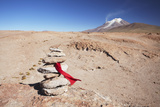 Stack of Prayer Stones on Altiplano  Potosi Department  Bolivia  South America