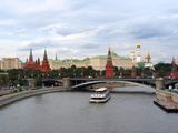 Bolshoy Kamenny Bridge and the Kremlin on the Moskva River  Moscow  Russia  Europe