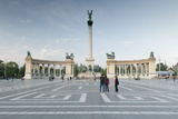 People Looking at Statues of Hungarian Historical Leaders  Millennium Monument  Budapest  Hungary