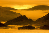 Misty Sunrise over Derwentwater  Borrowdale Valley  Lake District Nat'l Pk  Cumbria  England  UK