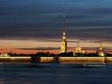 Cathedral of St Peter and St Paul at Dusk  St Petersburg  Russia  Europe