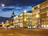 Nevsky Prospekt at Night  St Petersurg  Russia  Europe