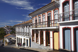 People Walking Along Street  Ouro Preto  UNESCO World Heritage Site  Minas Gerais  Brazil