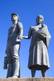 Miner Statue  Tonypandy  Rhondda Valley  Glamorgan  Wales  United Kingdom  Europe