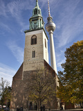 Tower of St Mary's Church Set Against Berlin's TV Tower  Berlin  Germany  Europe