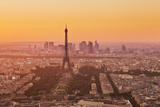 Paris Skyline at Sunset with the Eiffel Tower and La Defense  Paris  France  Europe