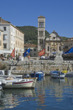 St Stephen's Cathedral from Old Harbour  Medieval City of Hvar  Island of Hvar  Dalmatia  Croatia