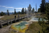 Tourists Looking at Seismograph and Bluebell Pools  Yellowstone Nat'l Pk  UNESCO Site  USA