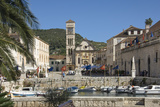 Old Harbour across Main Square to St Stephens Cathedral  Medieval City of Hvar  Dalmatia  Croatia