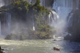 Tourist Boat Approaching Argentinean Iguacu Falls  Iguacu Nat'l Pk  UNESCO Site  Parana  Brazil