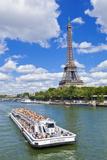 Bateaux Mouches Tour Boat on River Seine Passing the Eiffel Tower  Paris  France  Europe