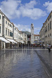 Foot Worn Glossy Roadway in Main Street  Medieval City of Dubrovnik  UNESCO Site  Croatia