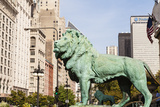 One of Two Iconic Bronze Lion Statues Outside the Art Institute of Chicago  Chicago  Illinois  USA