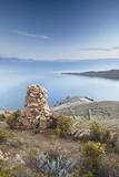 Stack of Prayer Stones on Isla del Sol (Island of the Sun)  Lake Titicaca  Bolivia  South America
