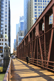 Pedestrians Crossing a Bridge over the Chicago River  Chicago  Illinois  United States of America