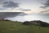 The White Cliffs of the Seven Sisters in the South Downs National Park  East Sussex  England  UK