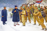 Wall Mural of Kim Il Sung  Pyongyang  Democratic People's Republic of Korea  N Korea